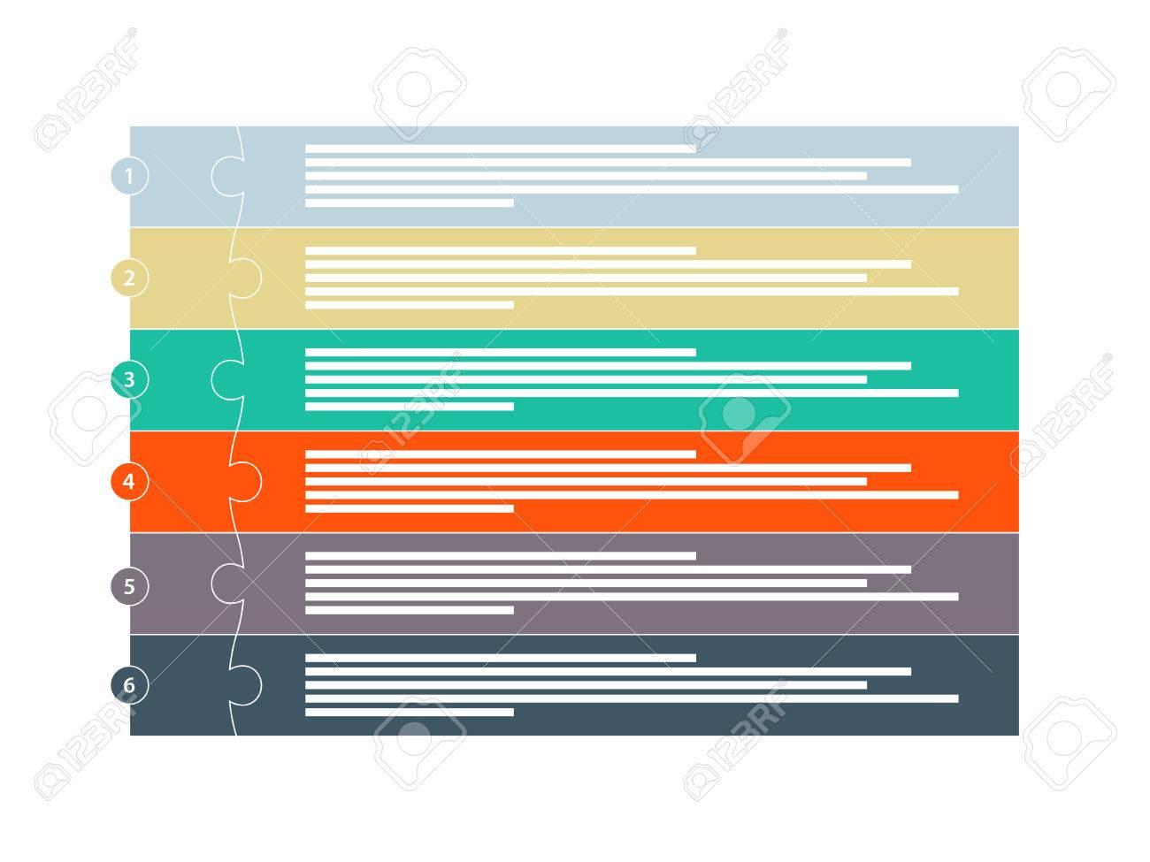Colorful six piece puzzle presentation infographic template - 30416851