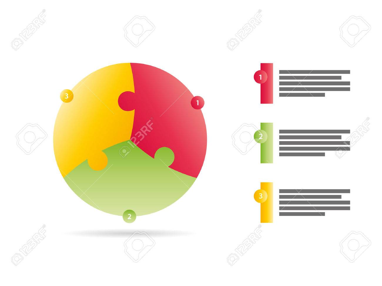 Three sided puzzle presentation infographic template vector - 30394332