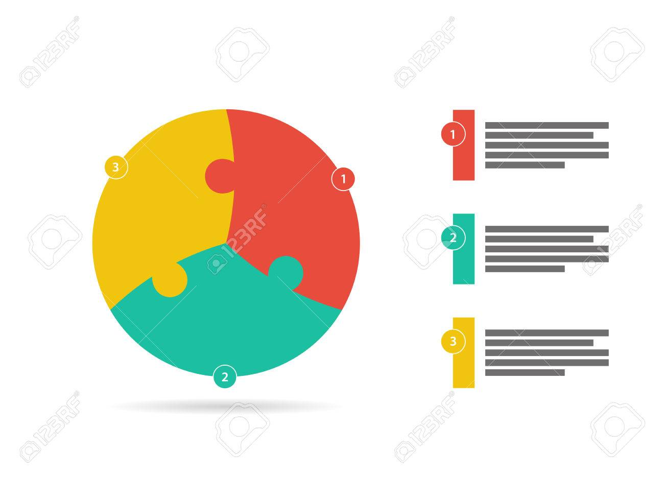 Three sided flat puzzle presentation infographic template vector - 30393818