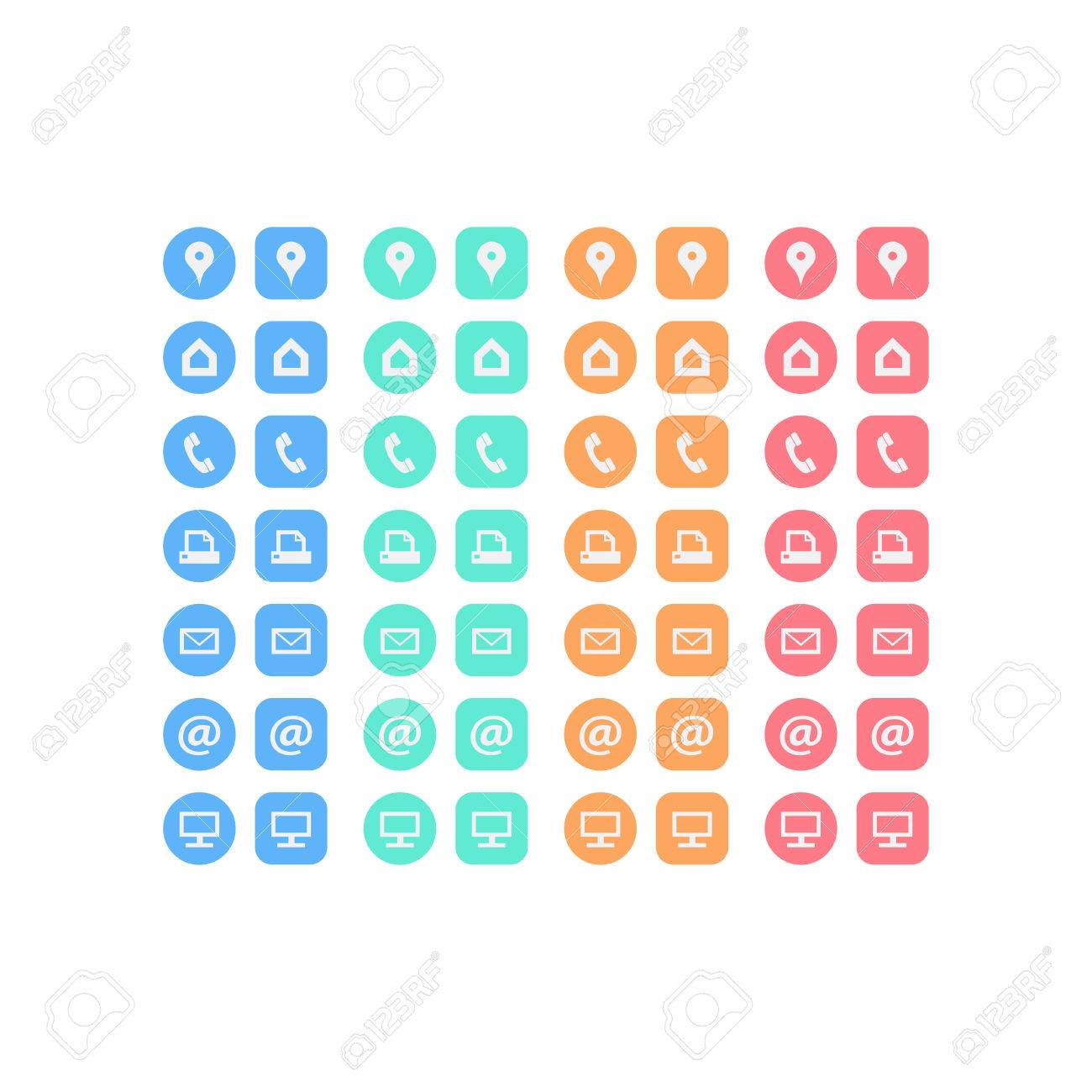 Multipurpose set of web icons for business, finance and communication. Vector graphic template. - 37927360