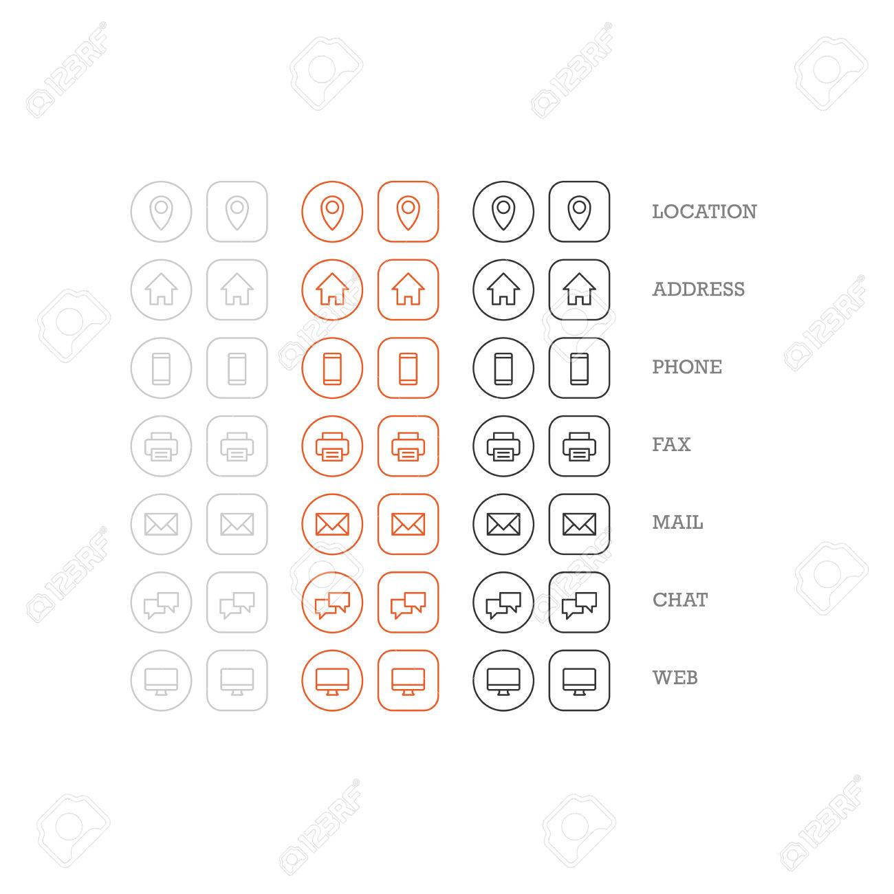 Flat Multipurpose Business Card Icon Set Of Web Icons For Business ...