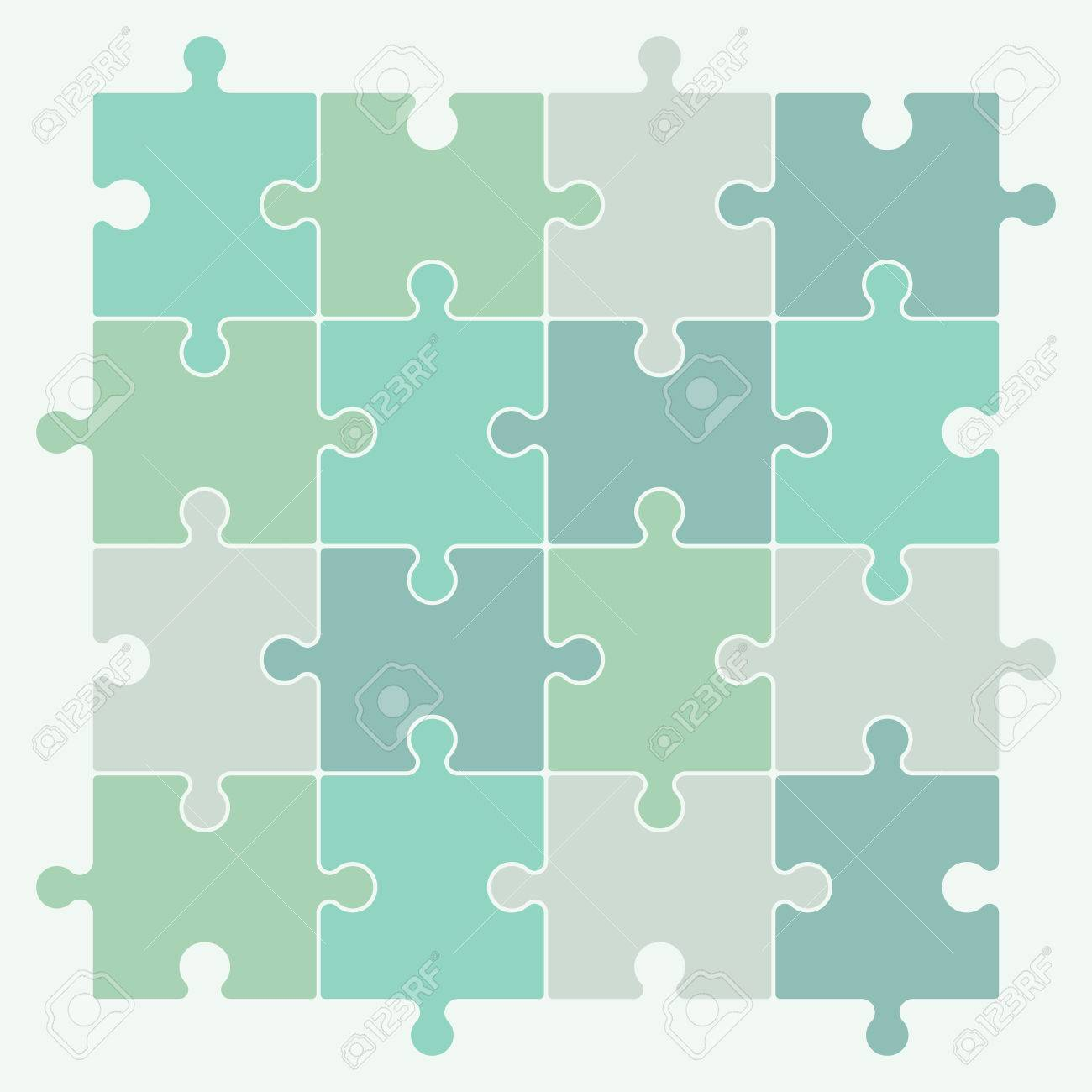 Green puzzle pieces forming a pattern background. Vector illustration graphic. - 40590539