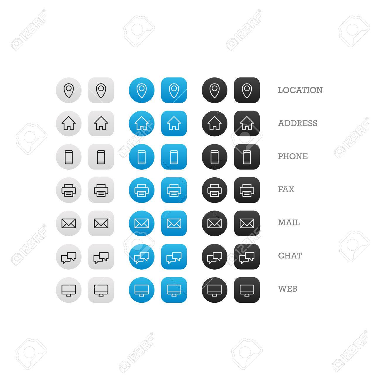 Flat multipurpose business card icon set of web icons for business finance and communication. Vector graphic template. - 40494814