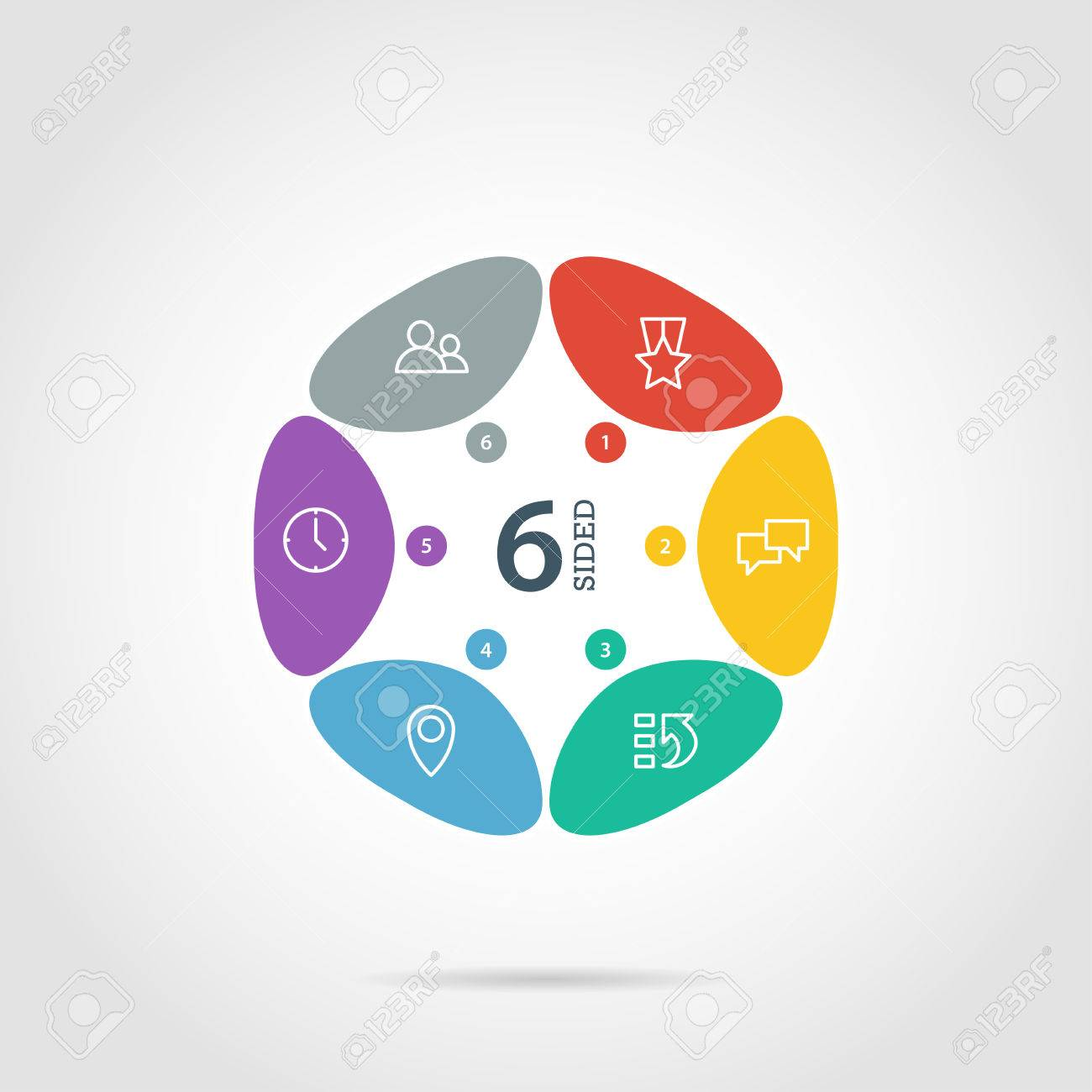 Flat flower shaped abstract presentation infographic chart. Numbered with icons. Isolated on white background. Vector graphic template. - 41742299