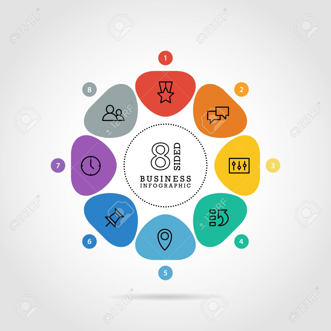 Flat flower shaped abstract presentation infographic chart. Numbered with icons. Isolated on white background. Vector graphic template. - 41742526