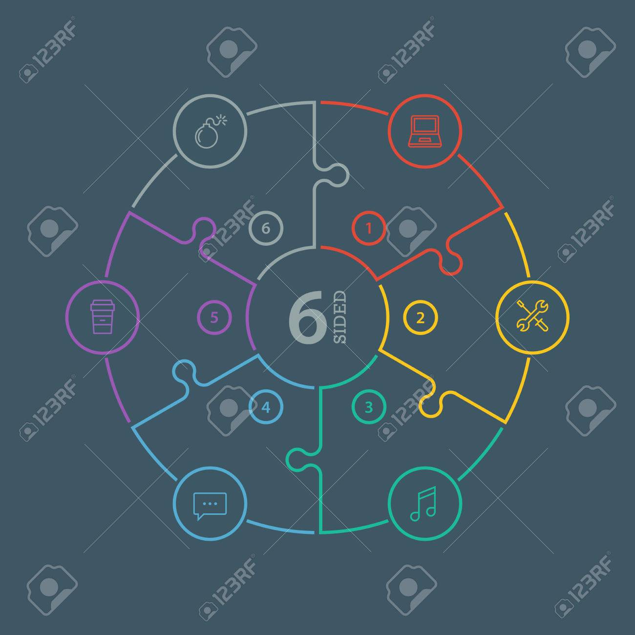 Numbered flat rainbow spectrum colored puzzle presentation infographic chart with explanatory text field isolated on dark background. Vector graphic template. - 41642986