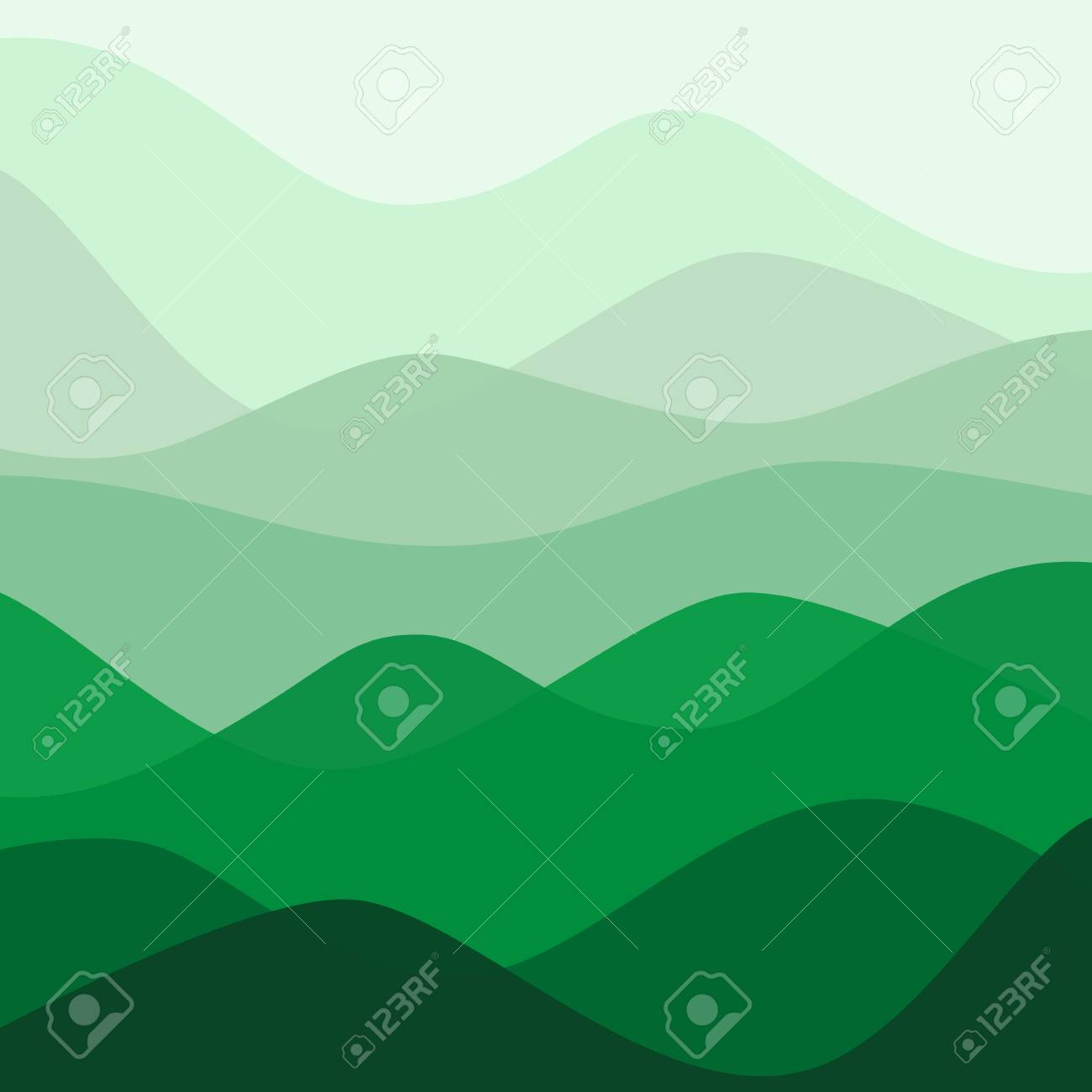 Abstract water nature landscape. Decorative square background. Vector graphic template. - 46085187