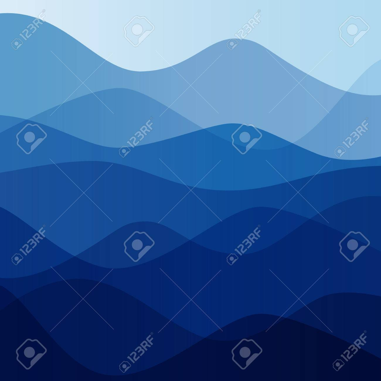 Abstract water nature landscape. Decorative square background. Vector graphic template. - 46085189