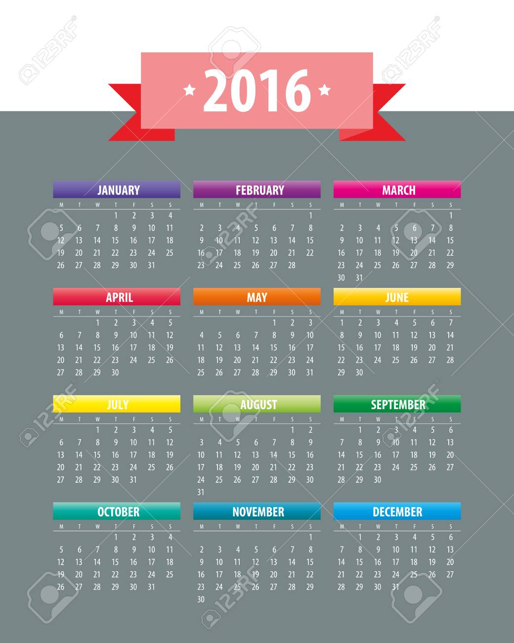Colorful 2016 Calendar. Week starts with monday. Vector graphic template. - 46085191