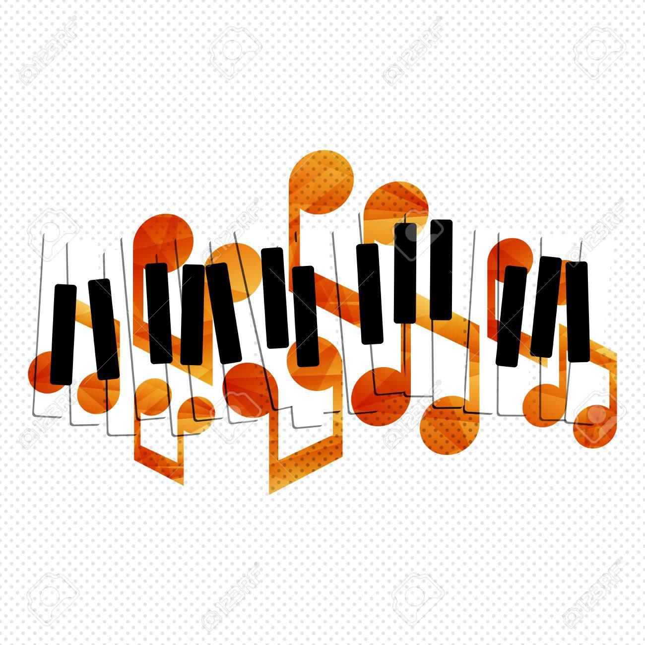 Piano music creative concept illustration. Vector graphic template. - 46791299
