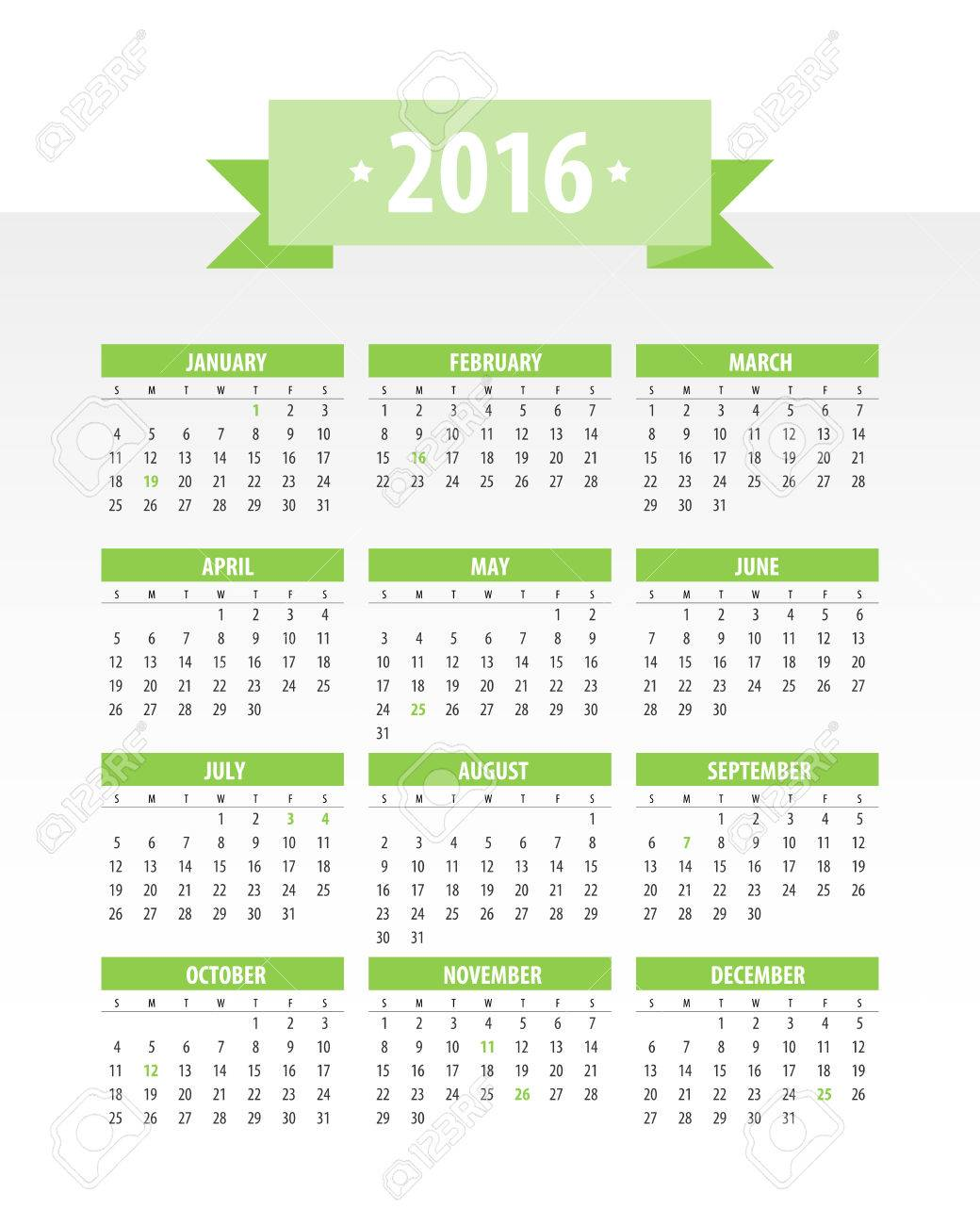 Colorful 2016 Calendar Week Starts With Monday Vector Graphic Template