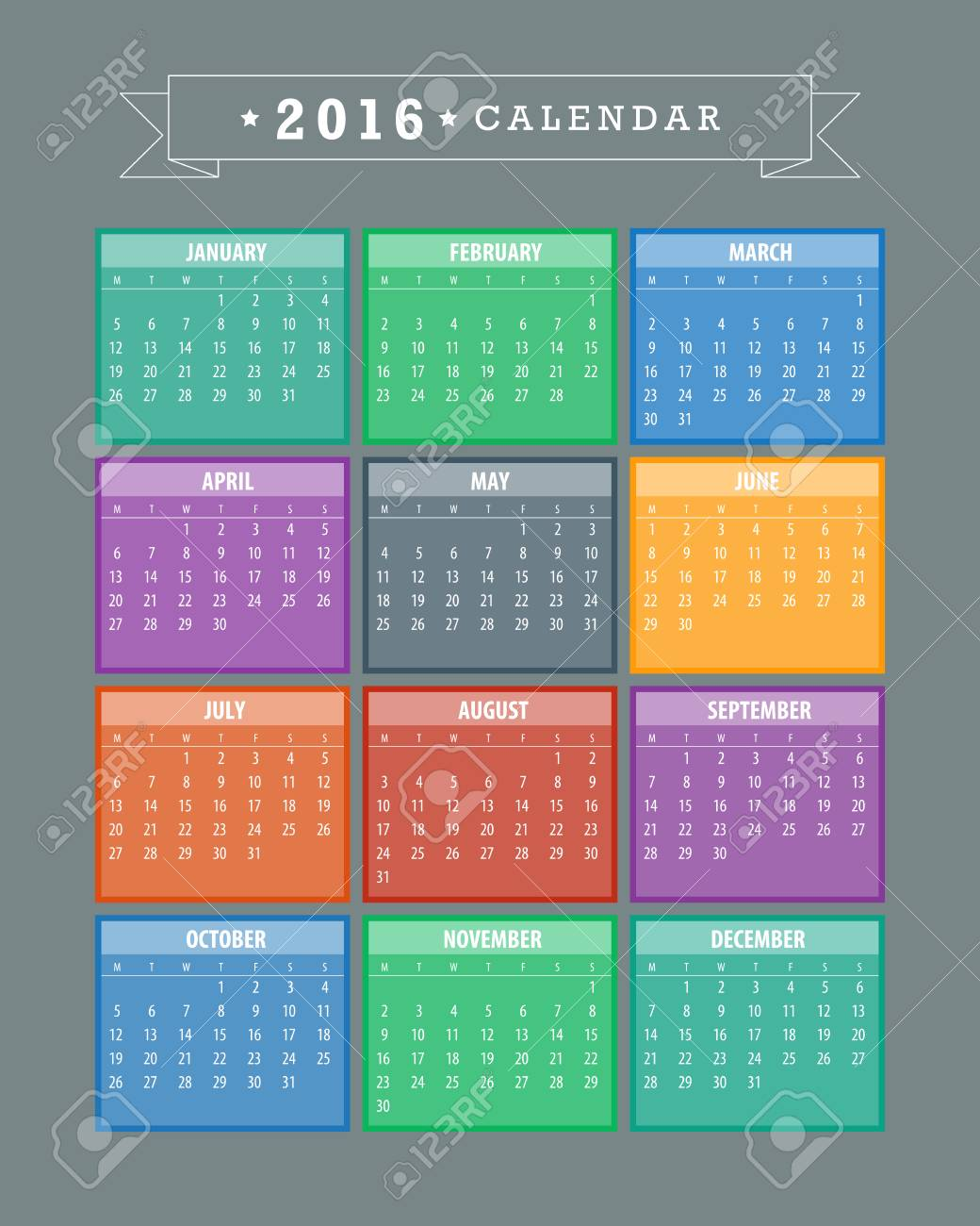Colorful 2016 Calendar. Week starts with monday. Vector graphic template. - 46085194