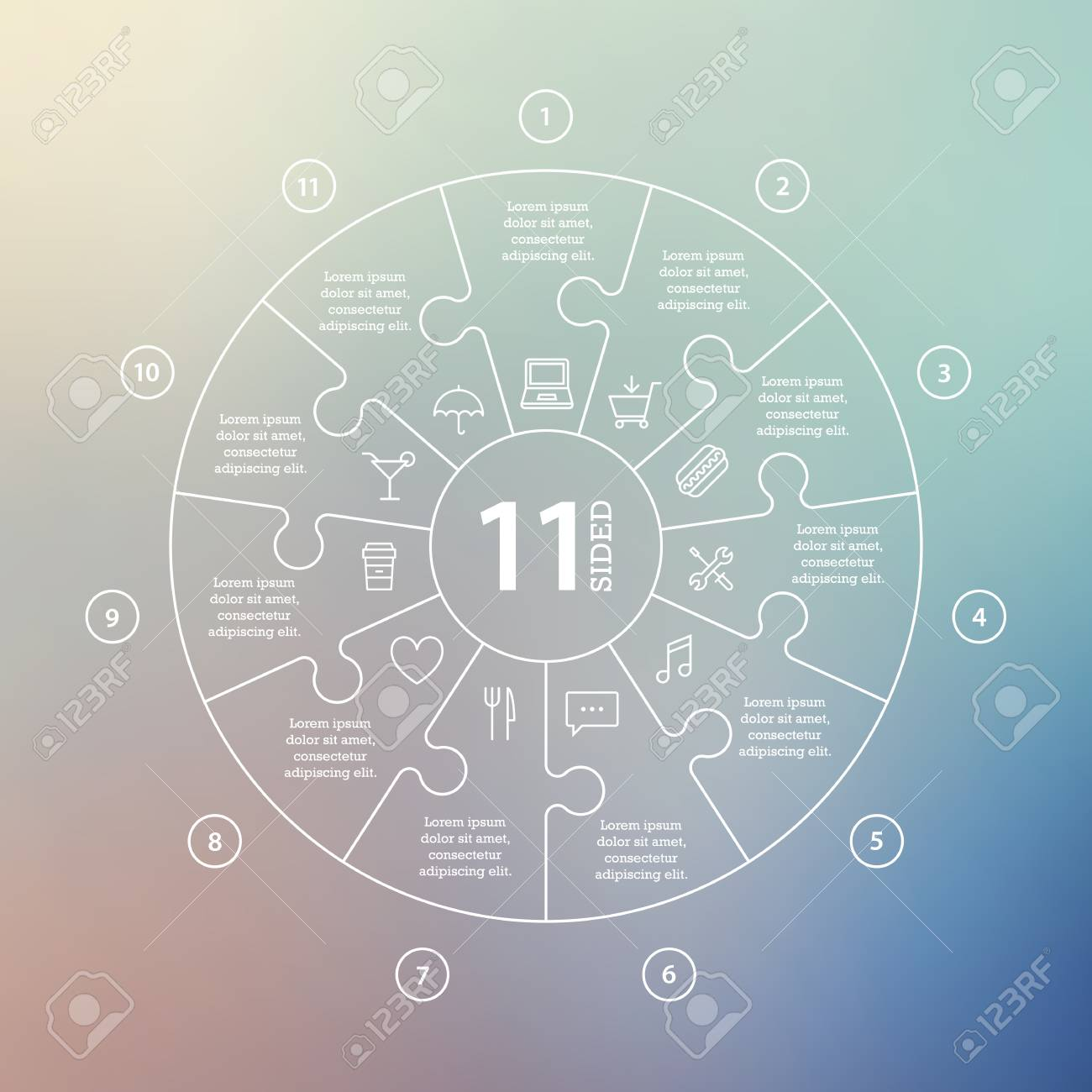 Business concept with options, parts, steps or processes. Circle puzzle infographic. Template for cycle diagram, graph, presentation and round chart. Vector blur background. - 46085197