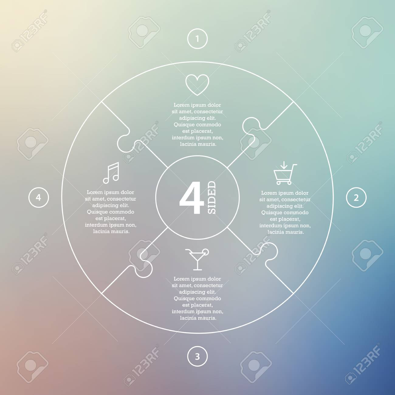 Business concept with options, parts, steps or processes. Circle puzzle infographic. Template for cycle diagram, graph, presentation and round chart. Vector blur background. - 46085198