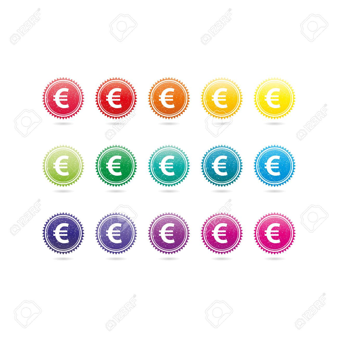 Euro currency grunge symbols. Colorful hipster style stamp badge signs. Vector illustration graphic template isolated on white background. - 46791302