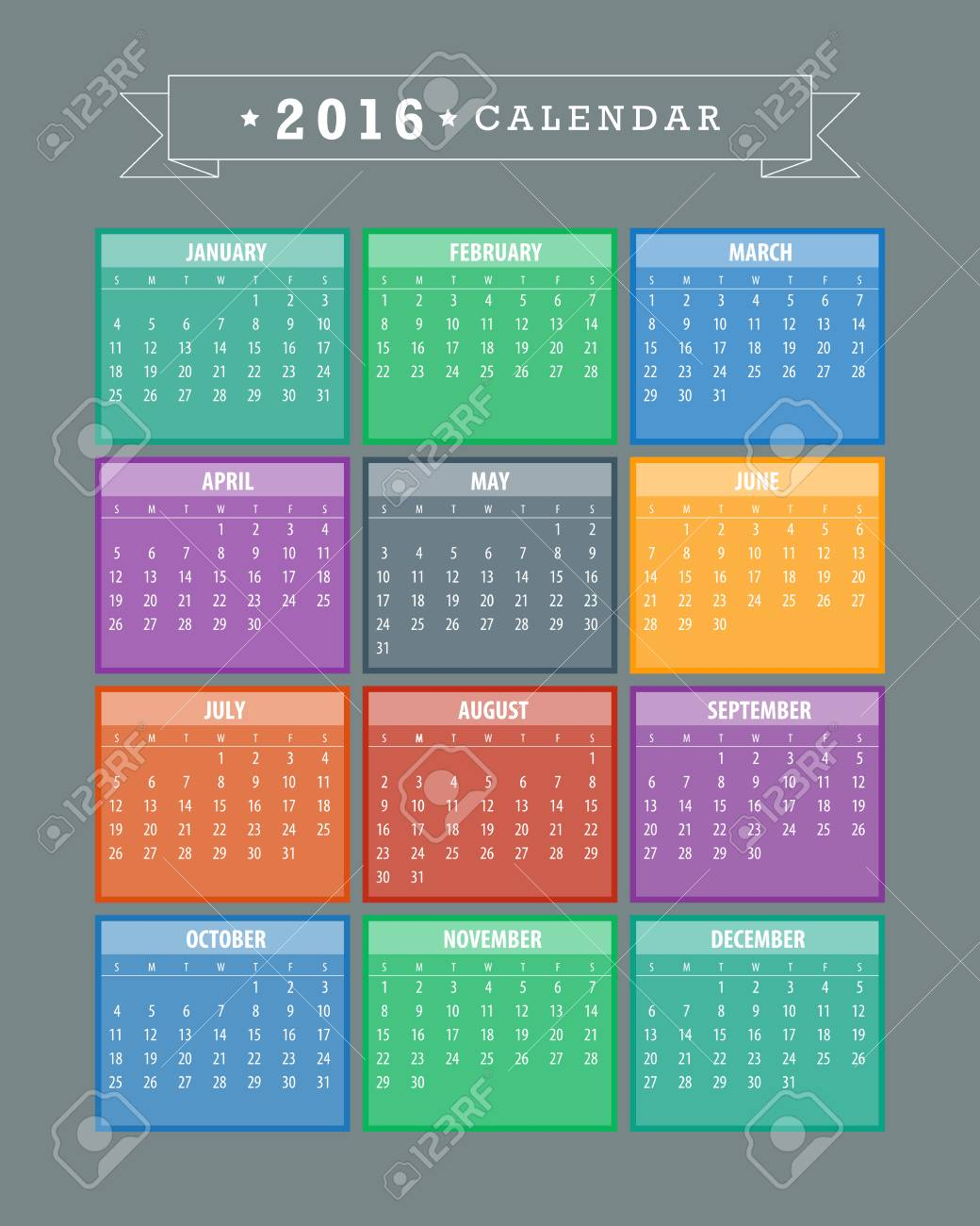 Colorful 2016 Calendar. Week starts with monday. Vector graphic template. - 46085238