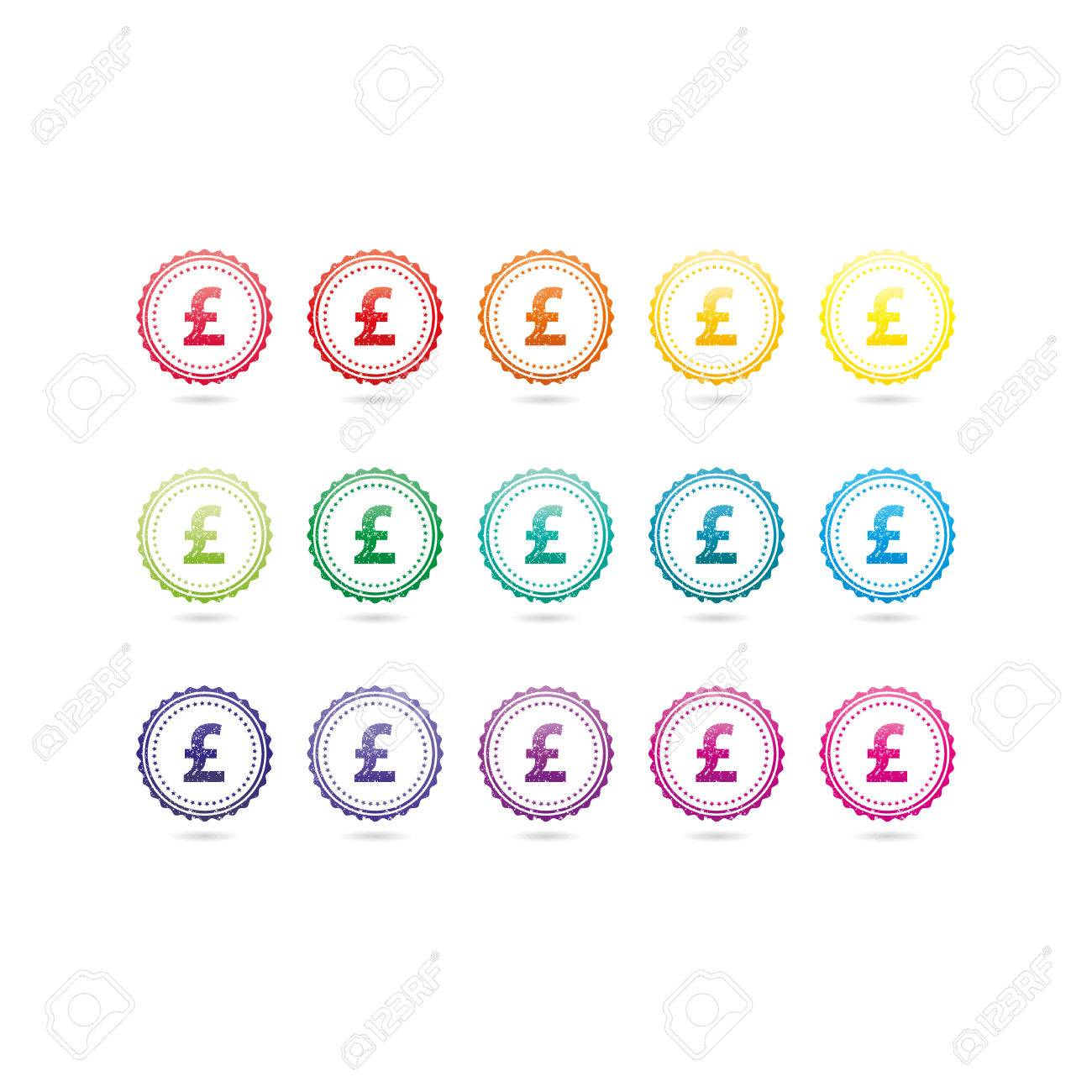 British pound sterling currency grunge symbols. Colorful hipster style stamp badge signs. Vector illustration graphic template isolated on white background. - 46791305