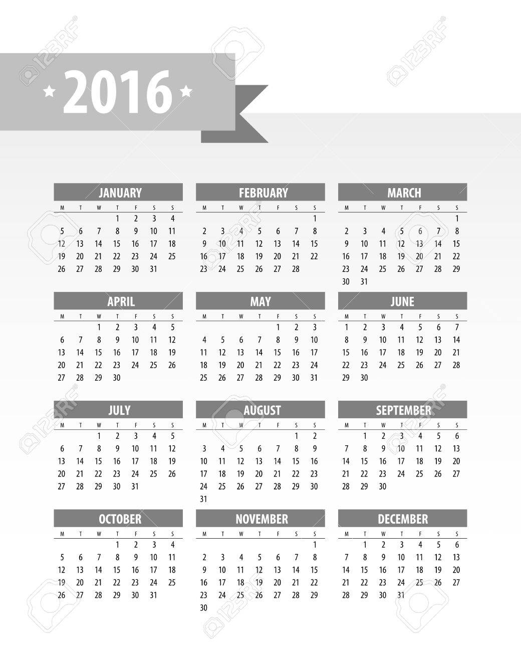 Colorful 2016 Calendar. Week starts with monday. Vector graphic template. - 46085243