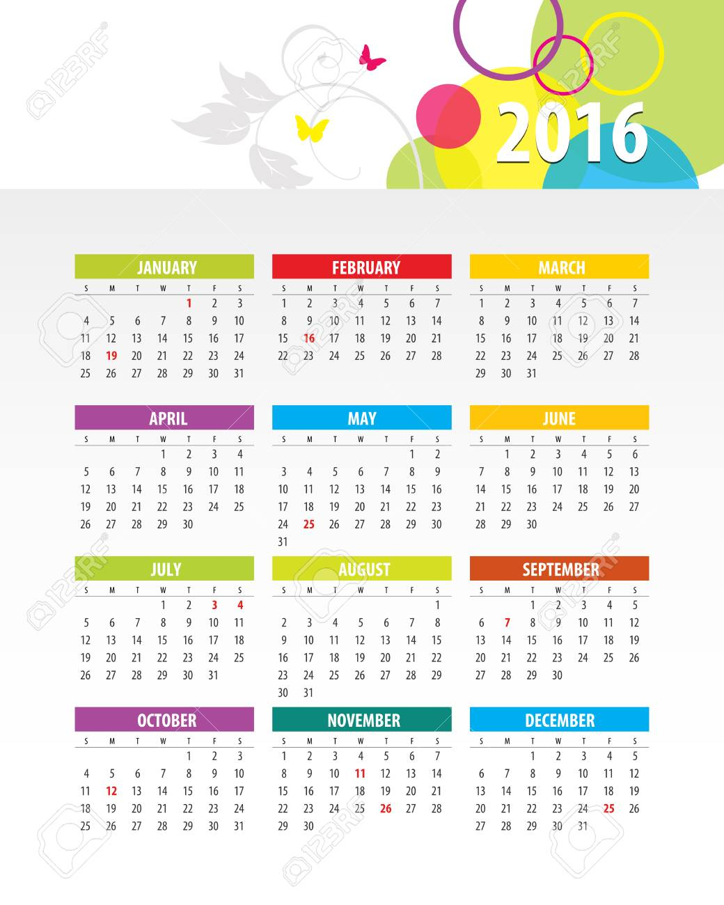 Colorful 2016 Calendar. Week starts with monday. Vector graphic template. - 46085244