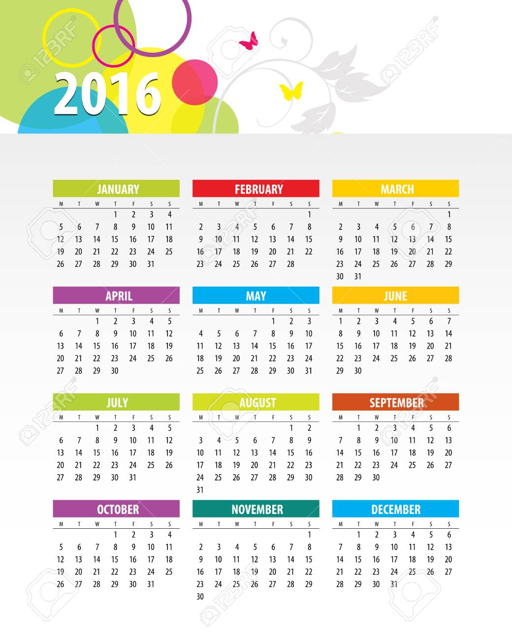 Colorful 2016 Calendar. Week starts with monday. Vector graphic template. - 46085245