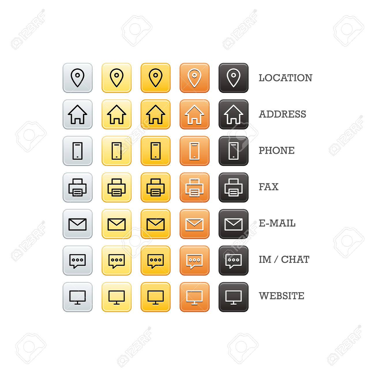 Multipurpose business card set of web icons for business, finance and communication. Vector graphic template isolated on white background. - 46791313
