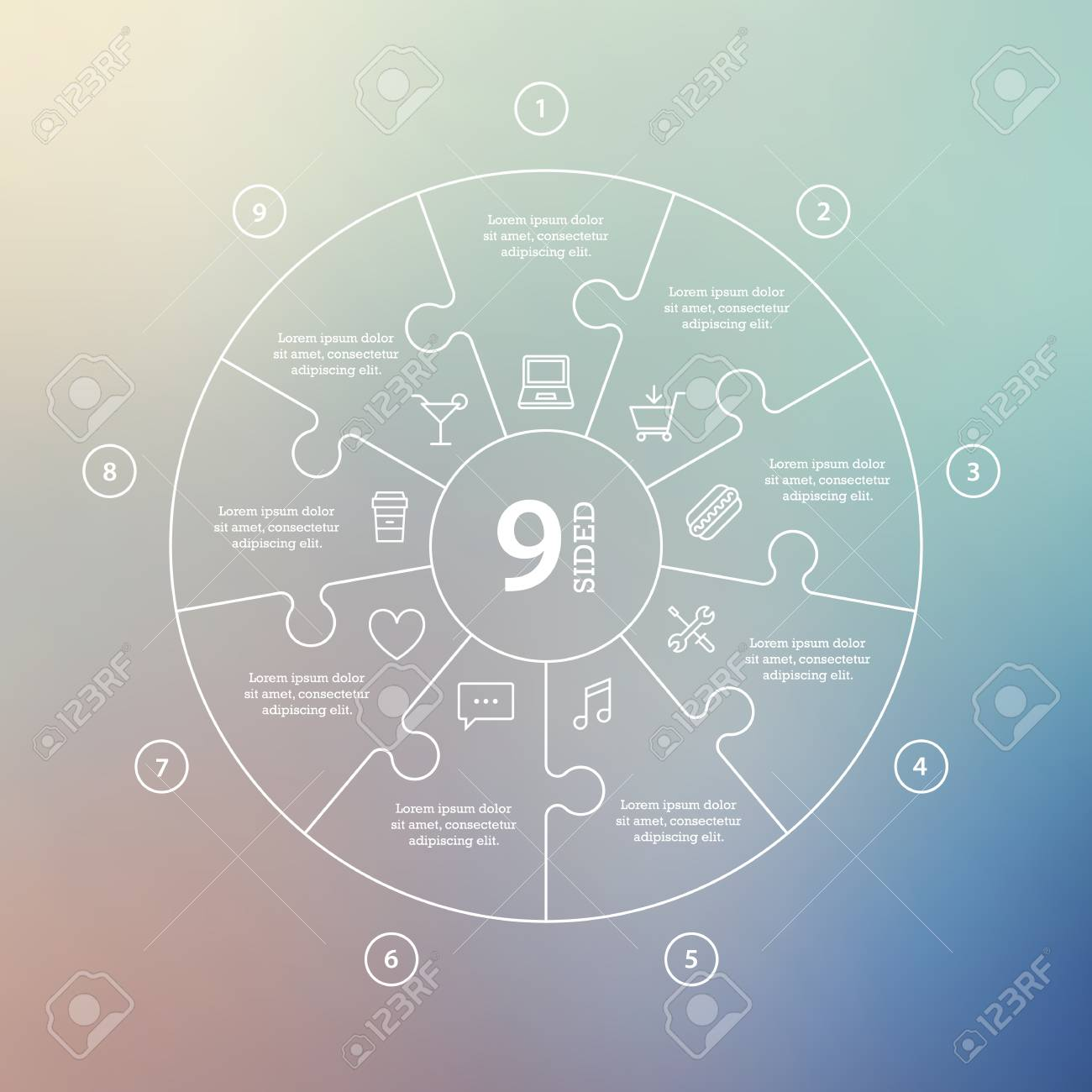 Business concept with options, parts, steps or processes. Circle puzzle infographic. Template for cycle diagram, graph, presentation and round chart. Vector blur background. - 46085246
