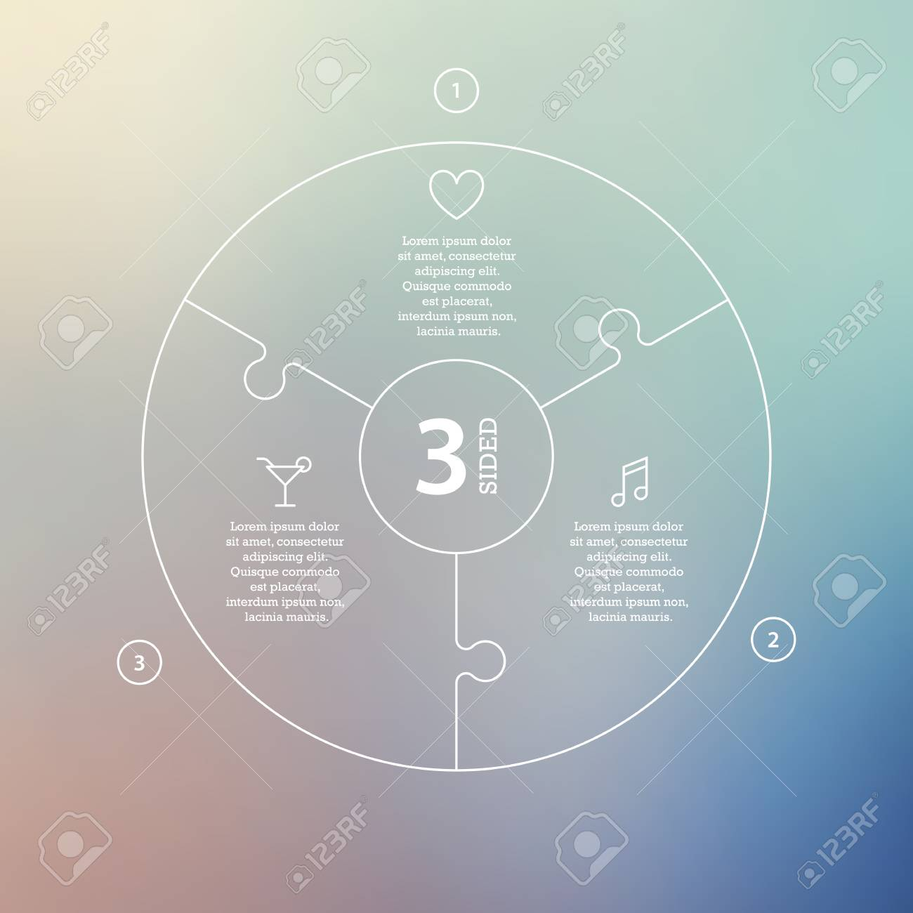 Business concept with options, parts, steps or processes. Circle puzzle infographic. Template for cycle diagram, graph, presentation and round chart. Vector blur background. - 46085250
