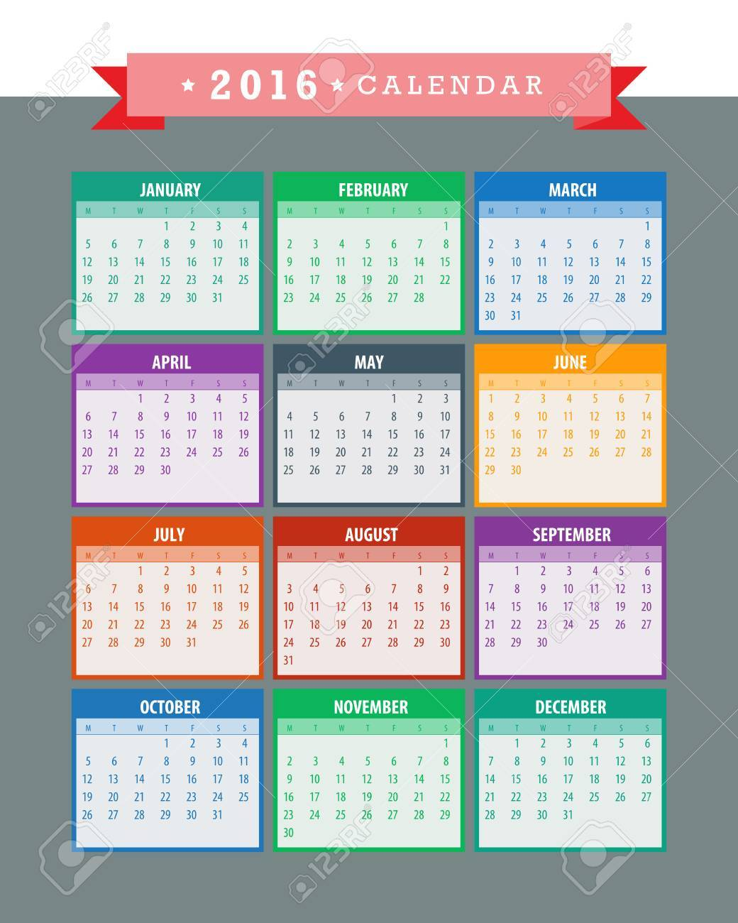 Colorful 2016 Calendar. Week starts with monday. Vector graphic template. - 46085254