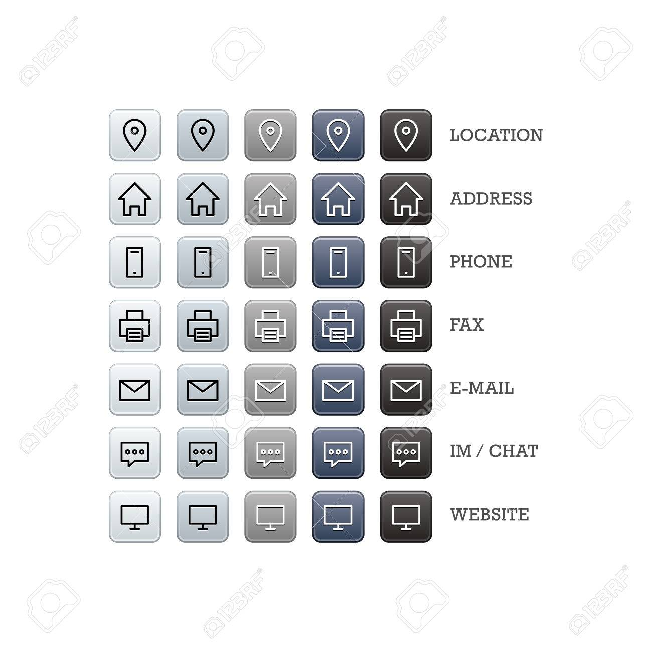 Multipurpose business card set of web icons for business, finance and communication. Vector graphic template isolated on white background. - 46791308