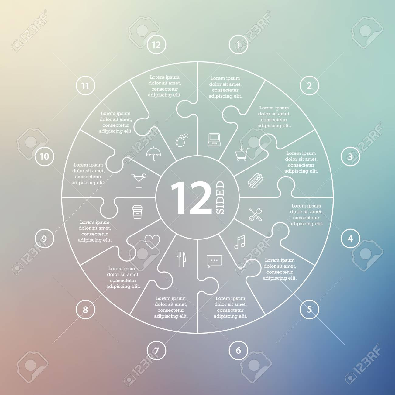 Business concept with options, parts, steps or processes. Circle puzzle infographic. Template for cycle diagram, graph, presentation and round chart. Vector blur background. - 46085309