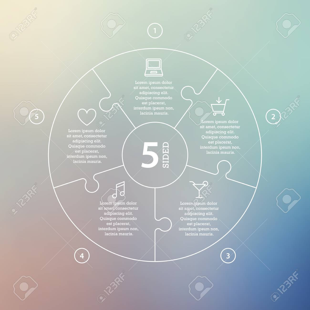 Business concept with options, parts, steps or processes. Circle puzzle infographic. Template for cycle diagram, graph, presentation and round chart. Vector blur background. - 46085310