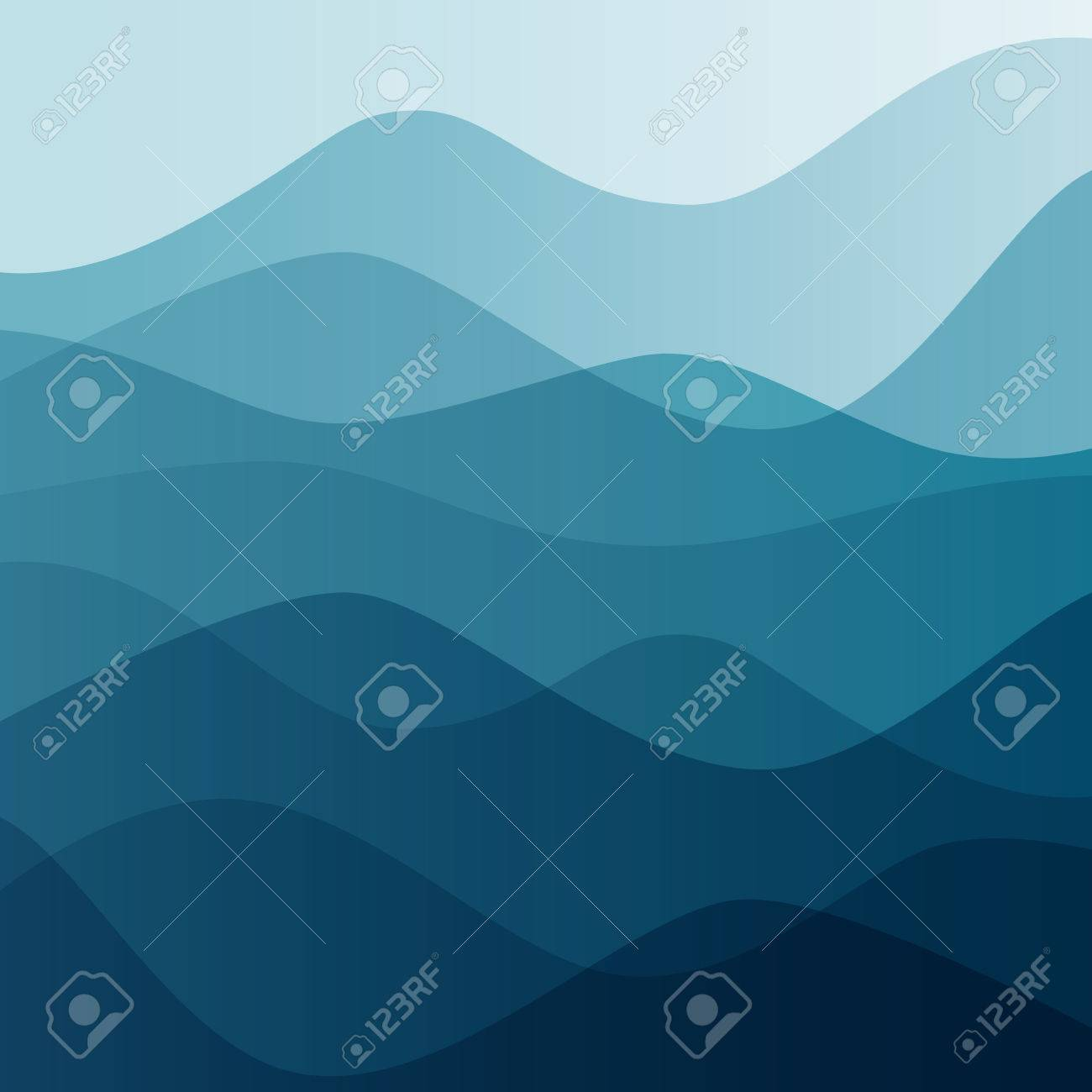 Abstract water nature landscape. Decorative square background. Vector graphic template. - 46085308
