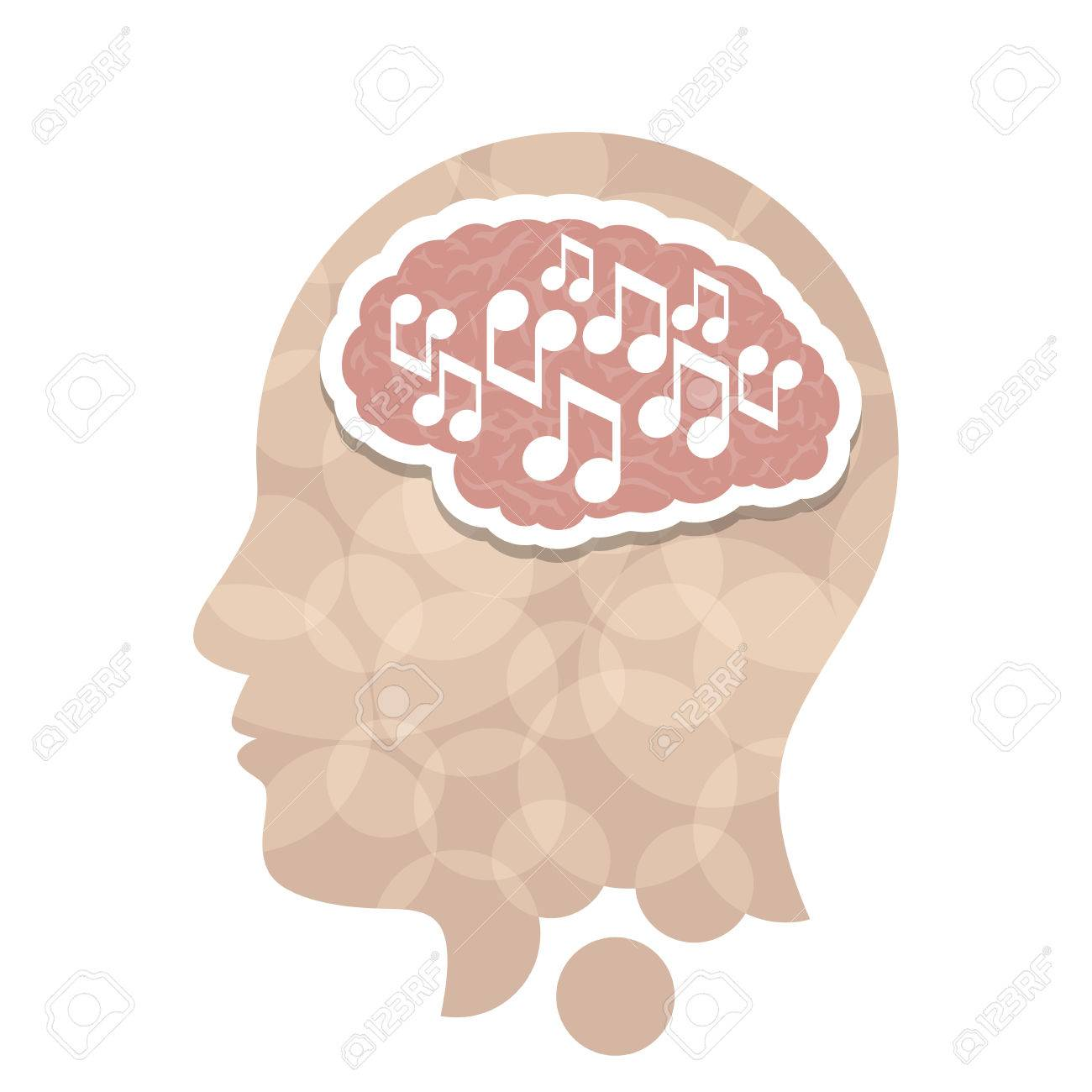 Music head creative concept illustration. Vector graphic template. - 46791369