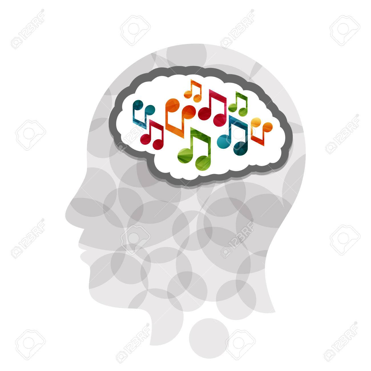 Music head creative concept illustration. Vector graphic template. - 46791370