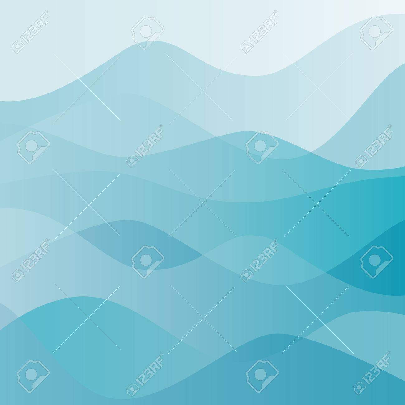 Abstract water nature landscape. Decorative square background. Vector graphic template. - 46085316