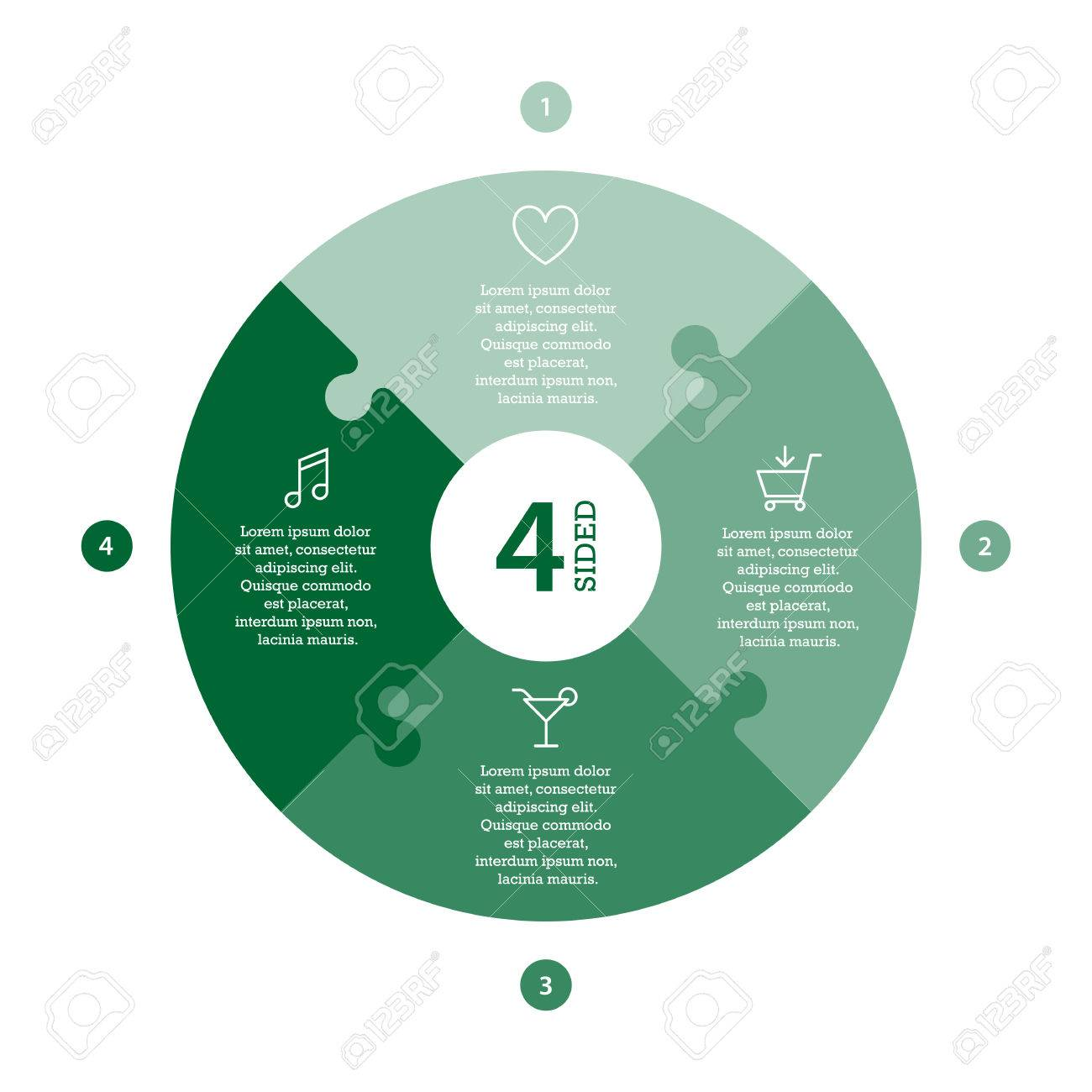 Flat monocolor puzzle presentation infographic chart. Numbered with icons and explanatory text isolated on white background. Vector graphic template. - 47450147
