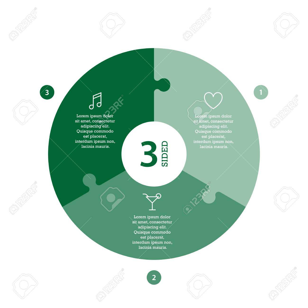 Flat monocolor puzzle presentation infographic chart. Numbered with icons and explanatory text isolated on white background. Vector graphic template. - 47450217