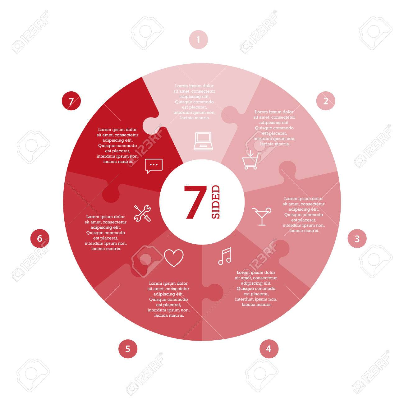 Flat monocolor puzzle presentation infographic chart. Numbered with icons and explanatory text isolated on white background. Vector graphic template. - 47450221