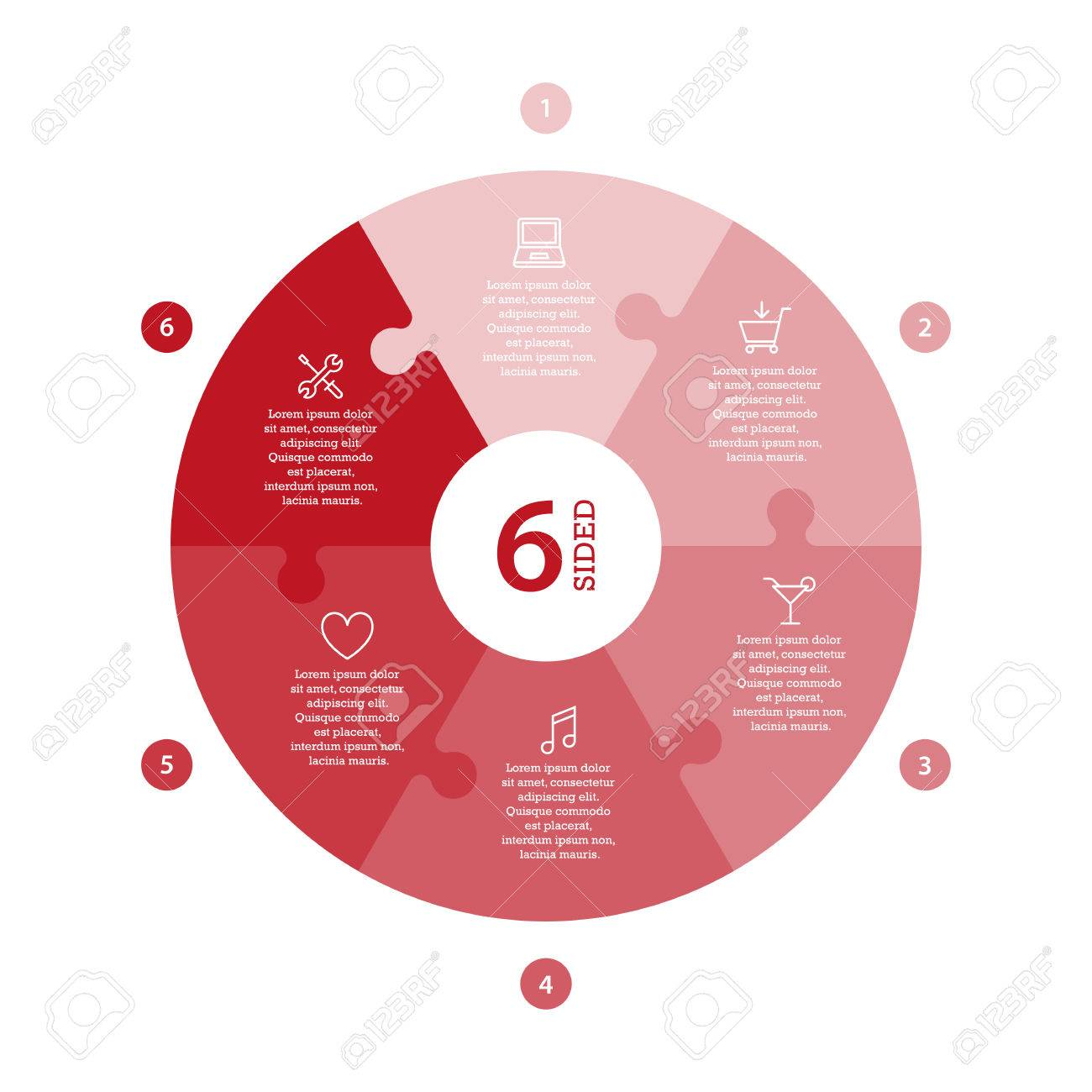 Flat monocolor puzzle presentation infographic chart. Numbered with icons and explanatory text isolated on white background. Vector graphic template. - 47450222