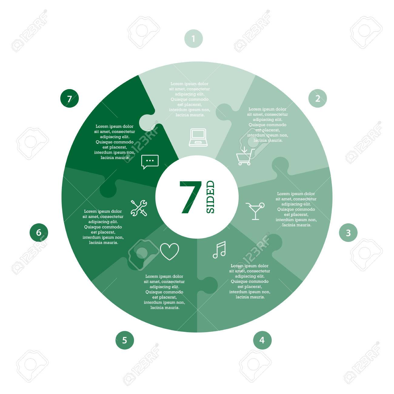 Flat monocolor puzzle presentation infographic chart. Numbered with icons and explanatory text isolated on white background. Vector graphic template. - 47450321