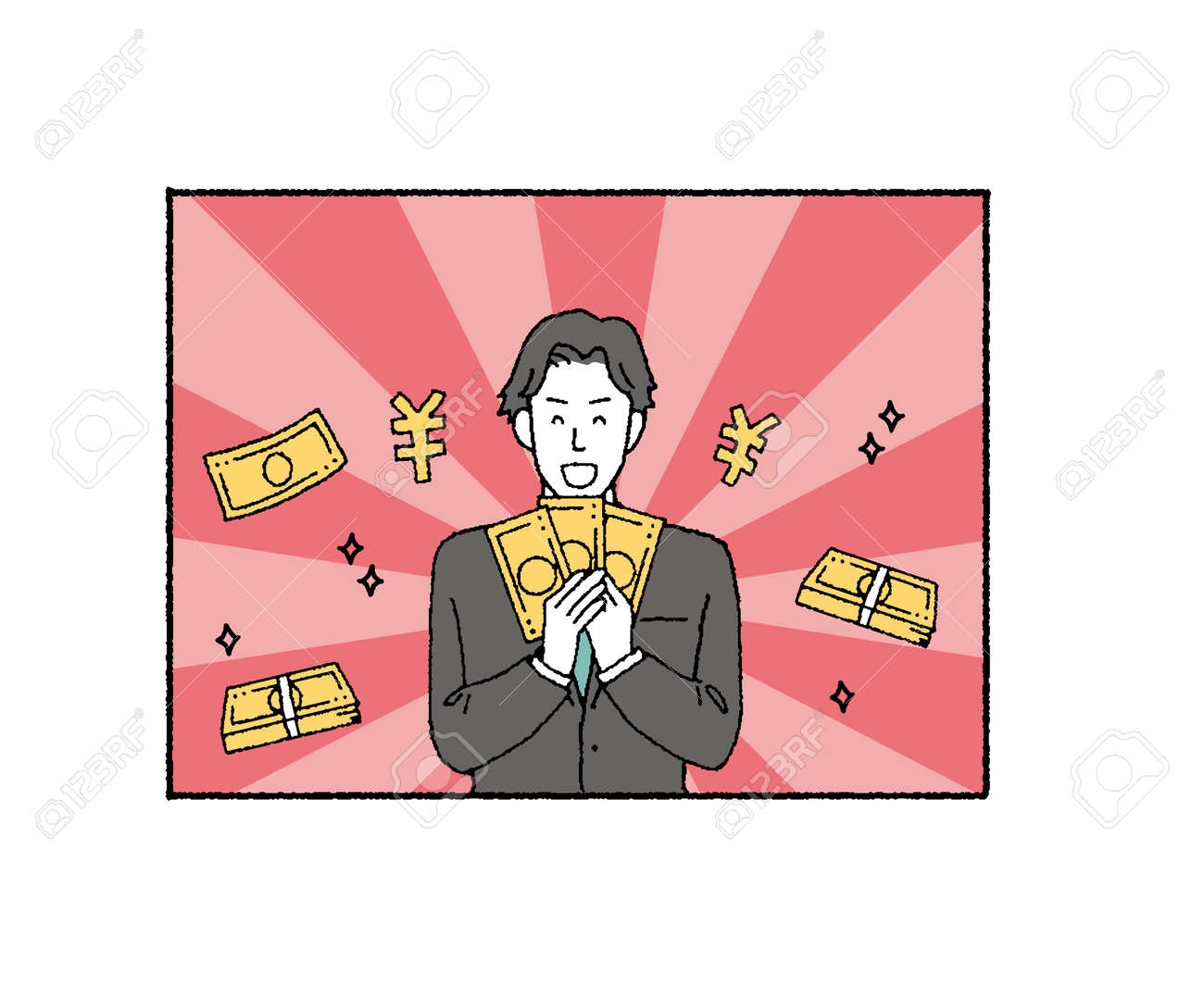 Illustration of businessman with tag with background  - 164800860