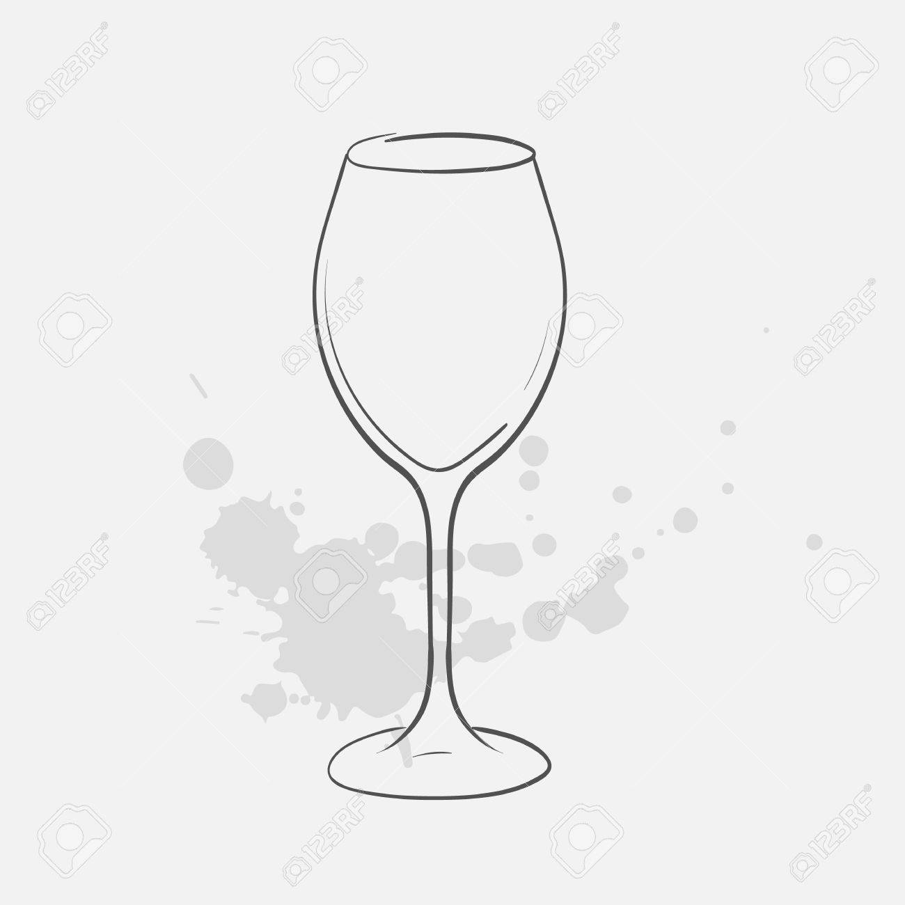 White Wine Glass Vector Sketch Icon Royalty Free Cliparts Vectors And Stock Illustration Image 74876457