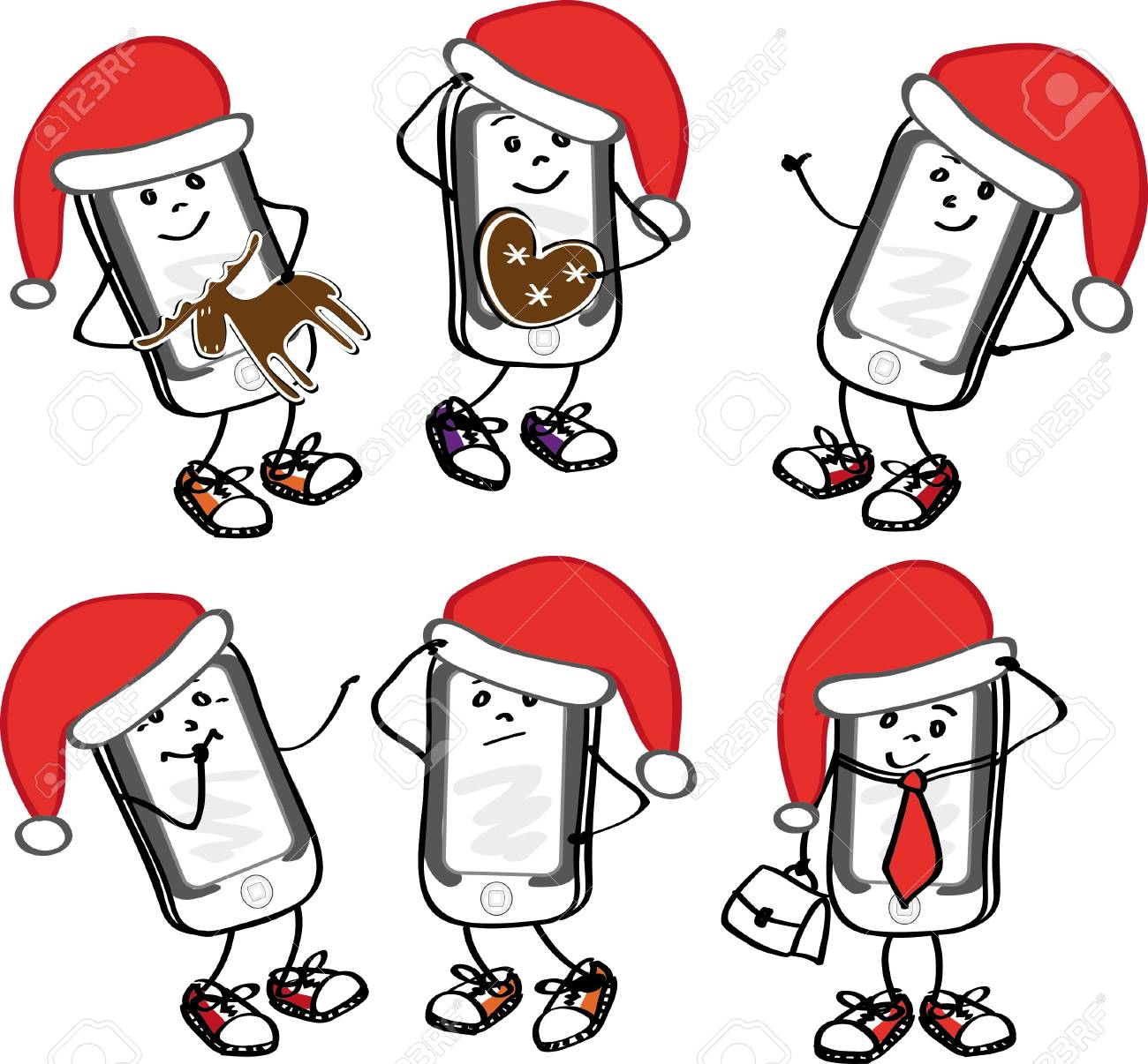 Illustration of phones with emotions Stock Vector - 10979623