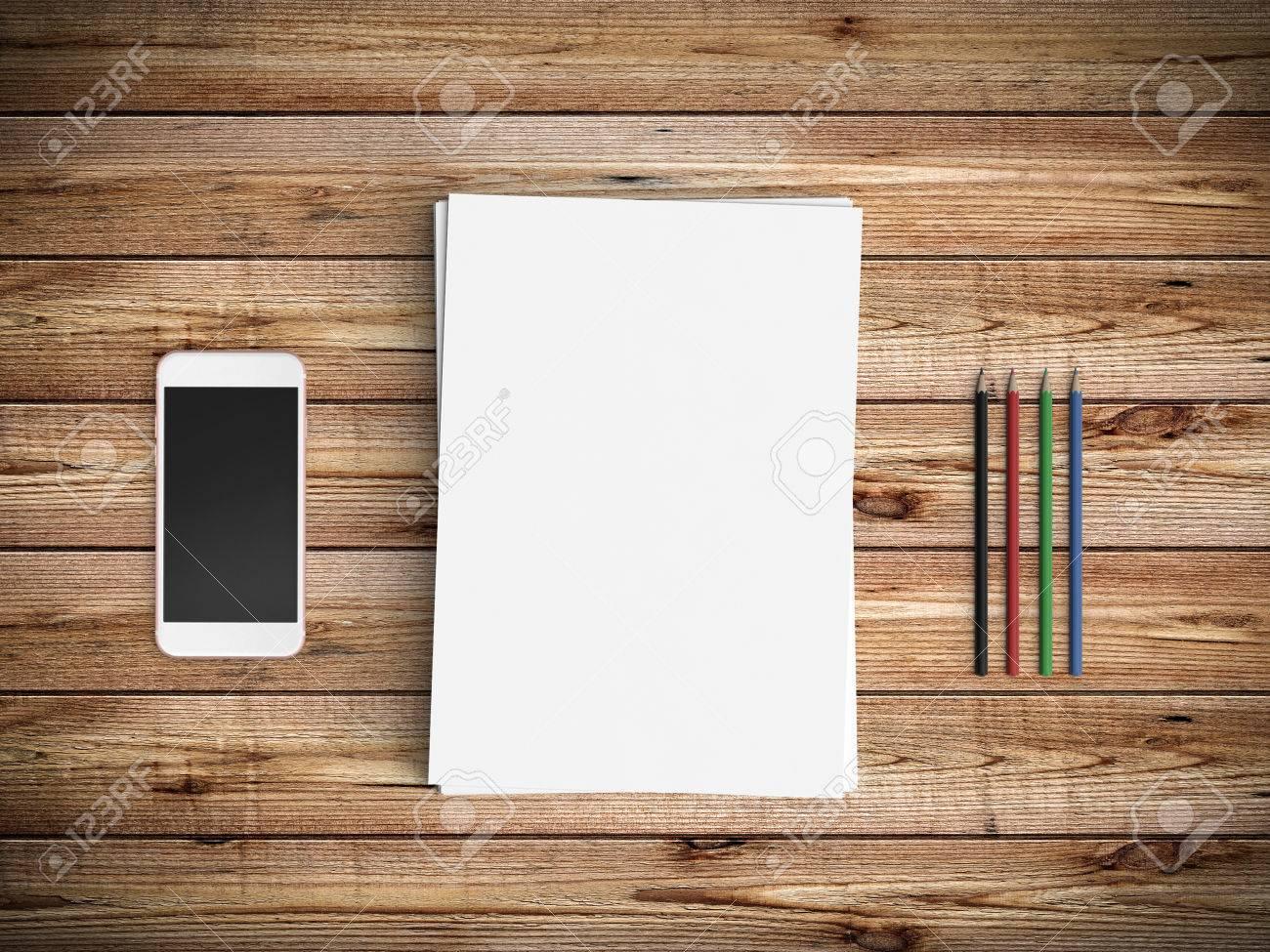 Immagini Stock Minimal Ufficio Scrivania Con Carta Bianca Tazza