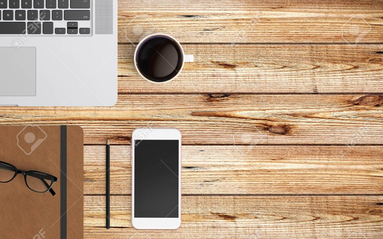 Modern workspace with laptop, coffee cup and smartphone copy space on color background. Top view. Flat lay style. - 137784535