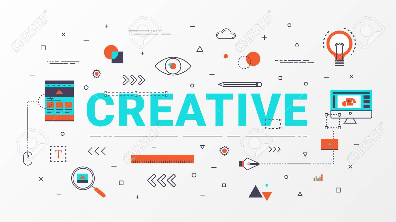 flat line creative info graphics design concept creative idea concept thin line art style