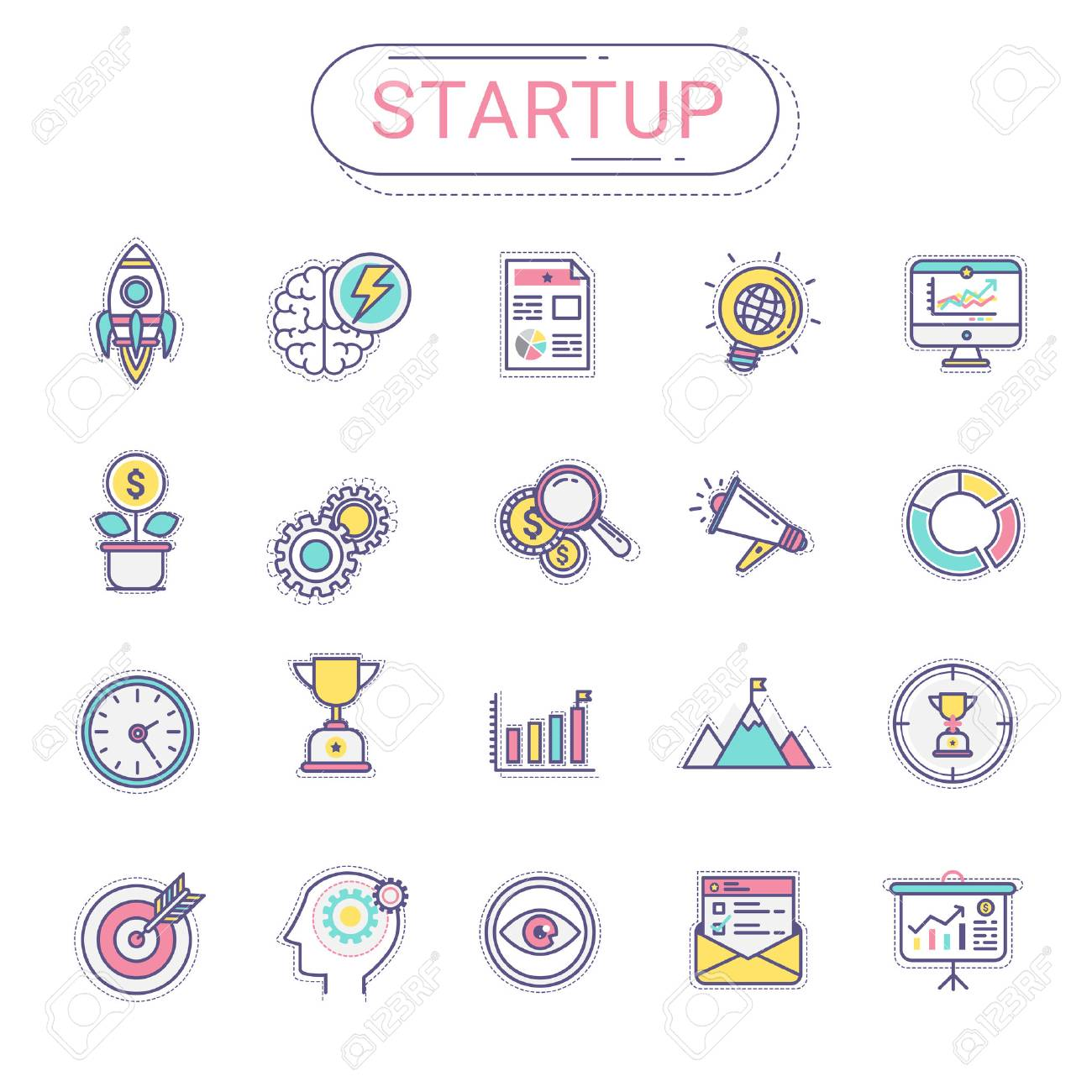 startup icons set of new business icons contains rocket icons
