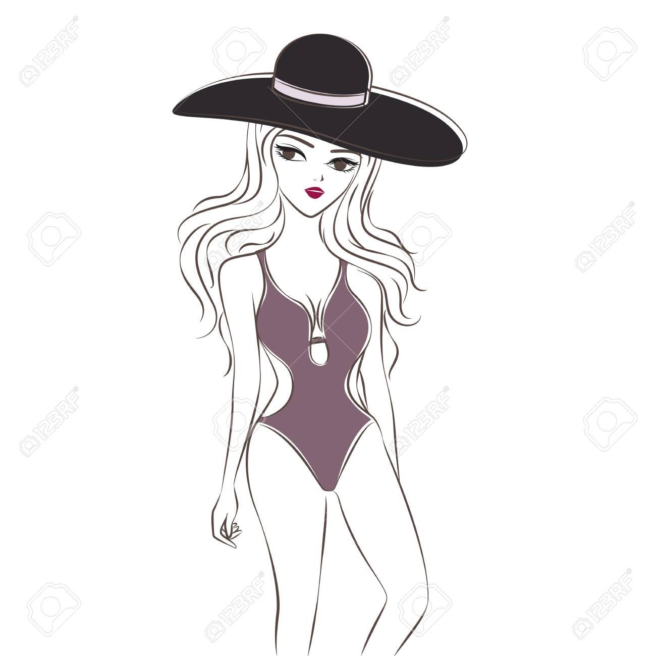 4989a007f Trajes De Baño De Una Pieza Para Mujer. Trajes De Baño Púrpura. Dibujos  Animados A Mano Dibujo Estilo Doodle. Para Diseño Gráfico