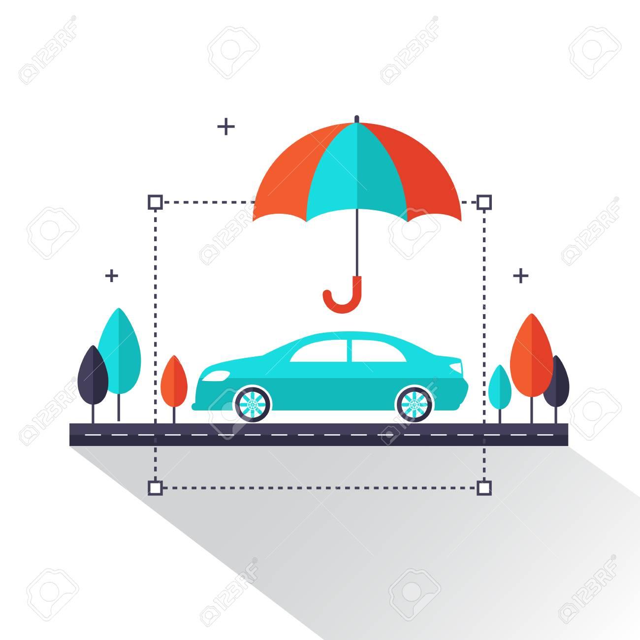 Auto-Versicherungs-Info-Grafik. Das Auto, Das Unter Regenschirm ...
