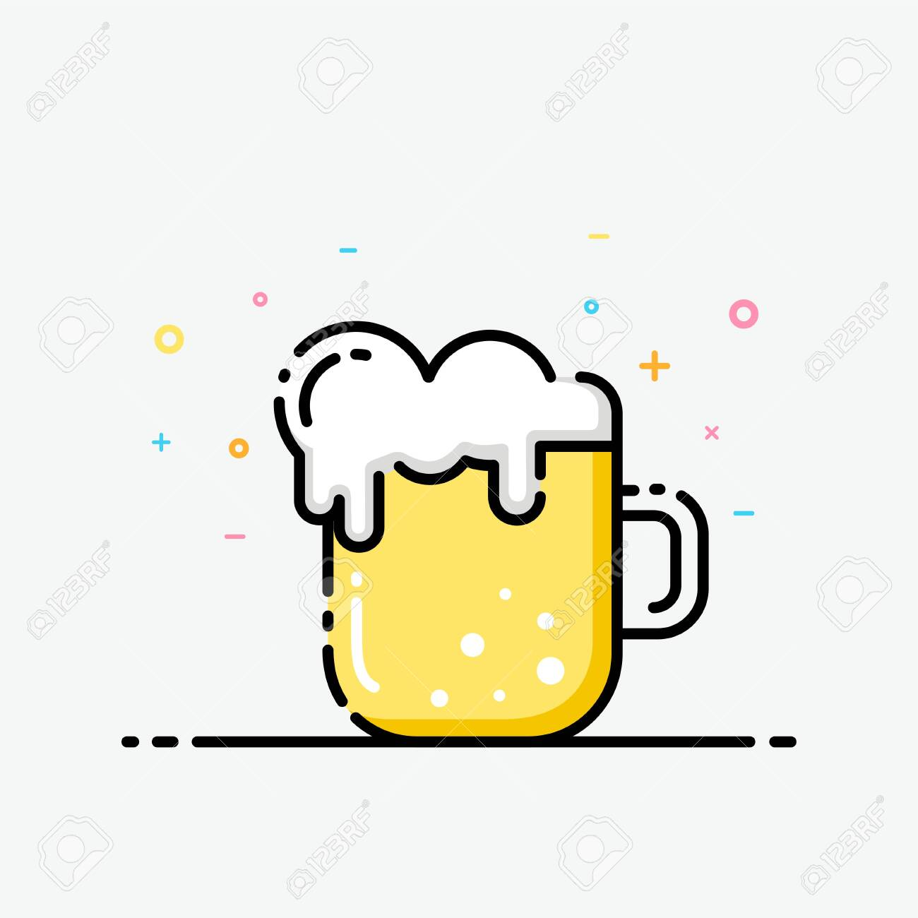 Beer Icon In Flat Line Style Beer Mug Logo For Social Media Royalty Free Cliparts Vectors And Stock Illustration Image 120856888